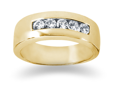 0.40 Carat Women's Diamond Wedding Band in 14K Yellow Gold
