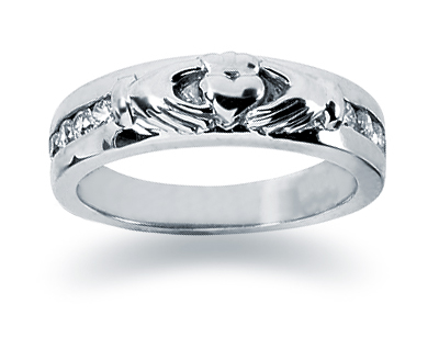 0.25 Carat Women's Claddagh Diamond Wedding Band in 14K White Gold (Apples of Gold)