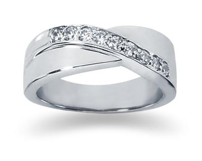 0 27 Carat Women S Diamond Wedding Band In 14k White Gold