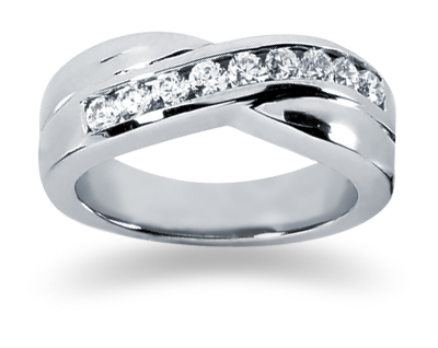 0.45 Carat Women's Diamond Wedding Band in 18K White Gold