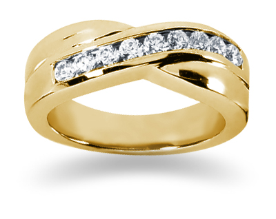 0.45 Carat Women's Diamond Wedding Band in 14K Yellow Gold