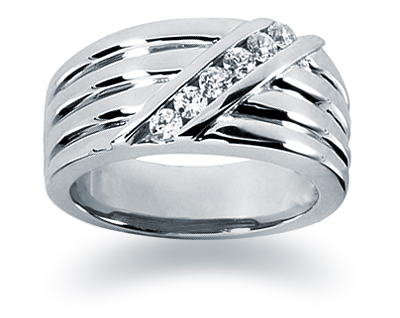 0.24 Carat Women's Diamond Wedding Band in 18K White Gold