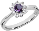 Petite Flower Amethyst and Diamond Ring in 14K White Gold