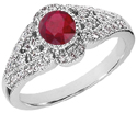 Art Deco Inspired Ruby and Diamond Ring, 14K White Gold