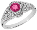 14K White Gold Diamond and Pink Topaz Art Deco Design Ring