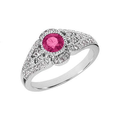 1930s Jewelry Styles and Trends 14K White Gold Diamond and Pink Topaz Art Deco Design Ring $925.00 AT vintagedancer.com