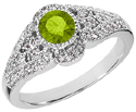 14K White Gold Peridot and Diamond Art Deco Inspired Ring