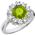 Peridot and Diamond Flower Halo Ring in 14K White Gold
