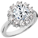 White Topaz and Diamond Halo Flower Ring, 14K White Gold