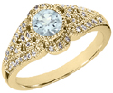 14K Yellow Gold Aquamarine and Diamond Art Deco Inspired Ring