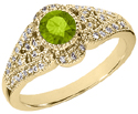 14K Yellow Gold Art Deco Inspired Peridot and Diamond Ring