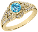 14K Yellow Gold Diamond and Blue Topaz Art Deco Design Ring