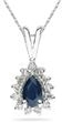 6mm x 4mm Pear Shaped Sapphire and Diamond Flower Pendant in 14K White Gold