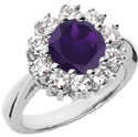 Traditional Amethyst and Diamond Halo Ring in 14K White Gold