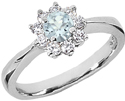 Petite Aquamarine Flower and Diamond Ring in 14K White Gold