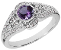 Art Deco Amethyst and Diamond Ring, 14K White Gold