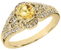 Art Deco Design Citrine and Diamond Ring, 14K Yellow Gold