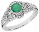 Art Deco Design Emerald and Diamond Ring, 14K White Gold
