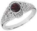 Art Deco Inspired Garnet and Diamond Ring, 14K White Gold