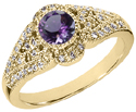 Art Deco Inspired Amethyst and Diamond Ring, 14K Yellow Gold