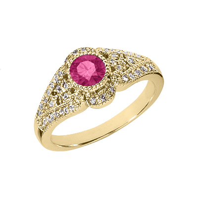 Art Deco Pink Topaz and Diamond Ring, 14K Yellow Gold