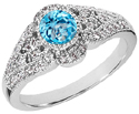 Blue Topaz and Diamond Art Deco Design Ring, 14K White Gold