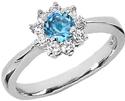 Blue Topaz Flower and Diamond Ring in 14K White Gold