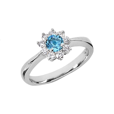 Blue Topaz Flower and Diamond Ring in 14K White Gold