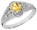 Citrine and Diamond Art Deco Inspired Ring, 14K White Gold