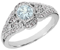 Diamond Art Deco Design Ring with Aquamarine Center Stone, 14K White Gold