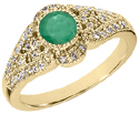 Diamond Art Deco Design Ring with Emerald Center Stone, 14K Yellow Gold
