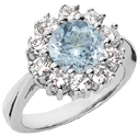 Diamond Halo Ring with Aquamarine Center Stone, 14K White Gold