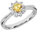 Small Flower Citrine and Diamond Ring in 14K White Gold
