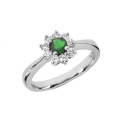 Petite Flower Emerald and Diamond Ring in 14K White Gold