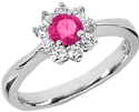 Pink Topaz Flower and Diamond Ring in 14K White Gold