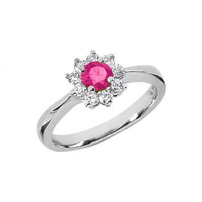 Pink Topaz Flower and Diamond Ring in 14K White Gold