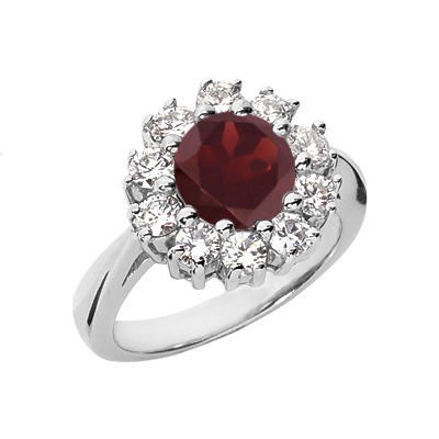 Garnet and Diamond Flower Ring in 14K White Gold