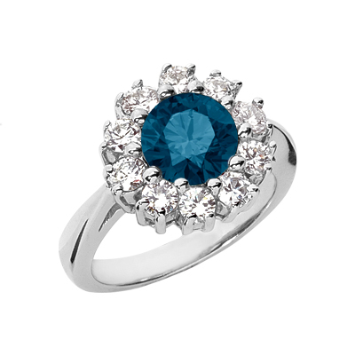 Classical London Blue Topaz and Diamond Halo Ring, 14K White Gold