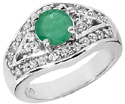 Modern Design Emerald Gemstone Ring in 14K White Gold