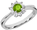 Peridot and Diamond Flower Ring in 14K White Gold