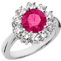 Pink Topaz Flower Diamond Halo Ring in 14K White Gold