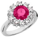 Pink Topaz Flower Diamond Halo Ring in 14K White Gold
