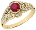 Ruby and Diamond Art Deco Inspired Ring, 14K Yellow Gold