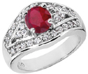 14K White Gold Ruby and Diamond Modern Engagement Ring