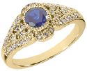 Sapphire and Diamond Art Deco Design Ring, 14K Yellow Gold