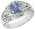 Sapphire and Diamond Design Ring in 14K White Gold