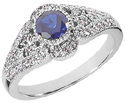 Vintage Inspired Sapphire and Diamond Ring, 14K White Gold