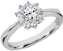 White Topaz Flower and Diamond Ring in 14K White Gold