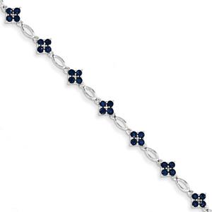 Sapphire Flower Bracelet, 14K White Gold