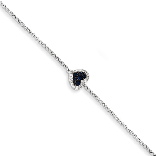Sapphire and Diamond Heart Bracelet, 14K White Gold